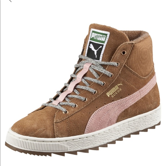 Puma Shoes | Womens Tan Pink Suede High